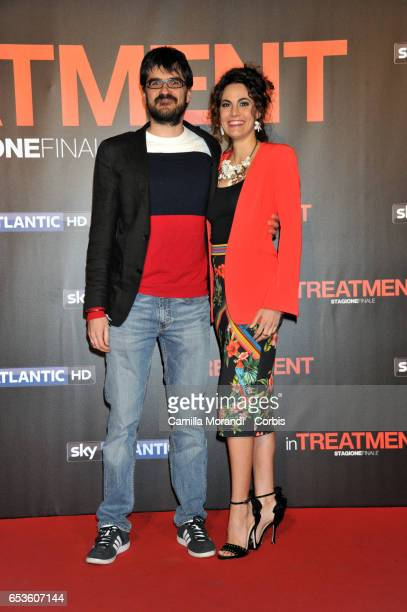 Roan Johnson and Enrica Guidi walk a red carpet for 'In Treatment' on March 15 2017 in Rome Italy