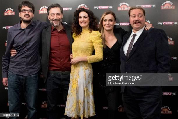Roan Johnson Filippo Timi Enrica Guidi Lucia Mascino and Stefano Fresi attend 'I delitti del BarLume' photocall during Noir In Festival on December 4...