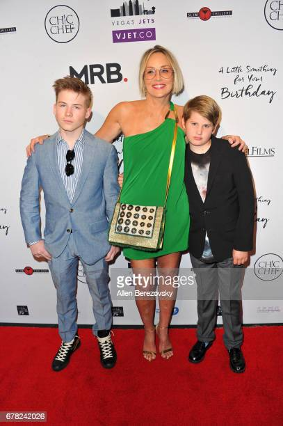 Roan Joseph Bronstein Sharon Stone and Laird Vonne Stone attend the premiere of Penny Black Promotions' A Little Something For Your Birthday at...