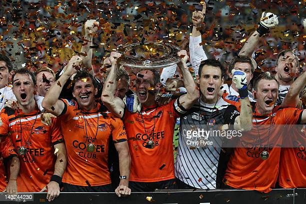 Roar celebrate winning the 2012 ALeague Grand Final match between the Brisbane Roar and the Perth Glory at Suncorp Stadium on April 22 2012 in...