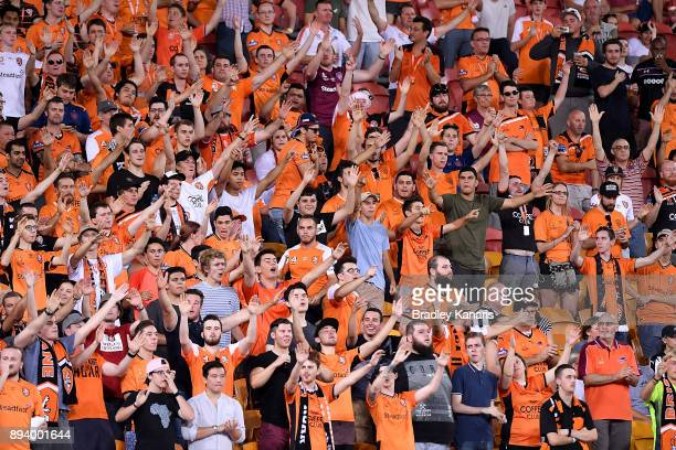 Roar fans show their support during the round 11 ALeague match between the Brisbane Roar and the Melbourne Victory at Suncorp Stadium on December 17...