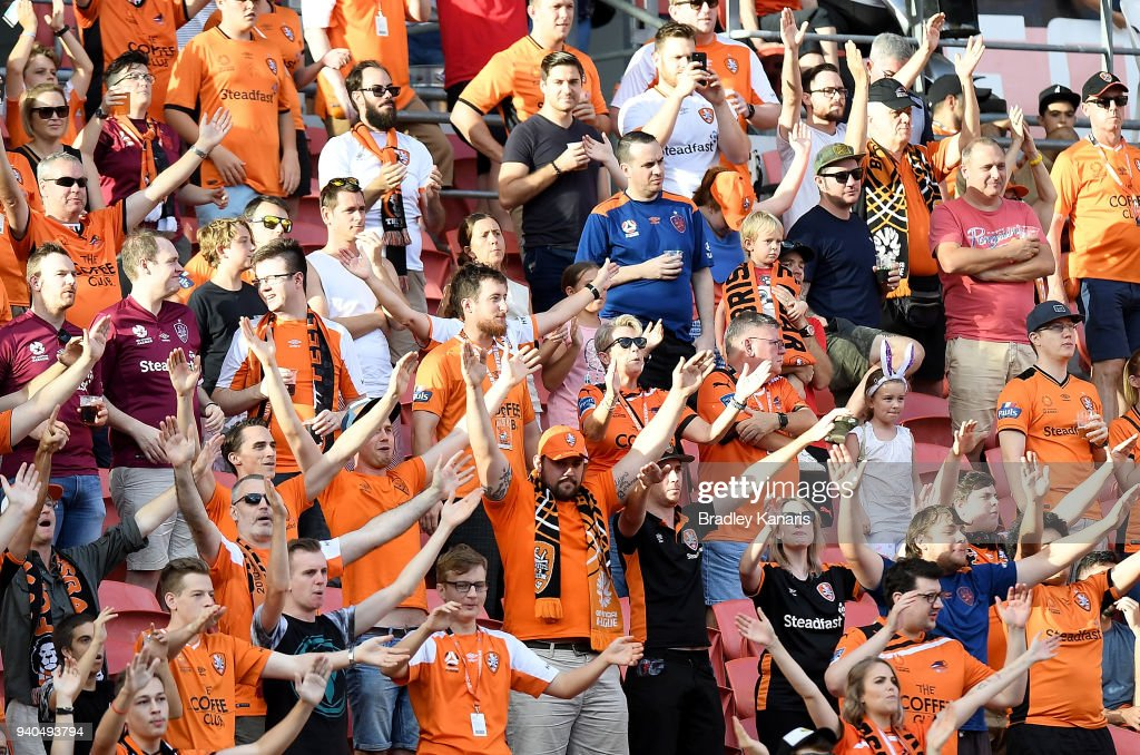 Roar fans show their support during the round 25 A-League match between the Brisbane Roar and the Central Coast Mariners at Suncorp Stadium on March 31, 2018 in Brisbane, Australia.