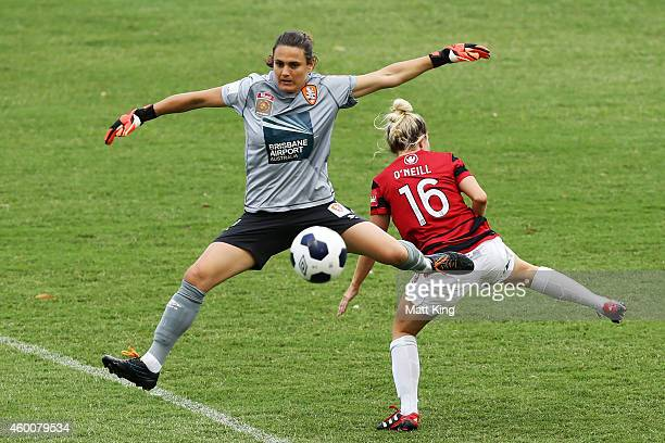 Roar goalkeeper Nadine Angerer competes for the ball against Linda O'Neill of the Wanderers during the round 12 WLeague match between Western Sydney...