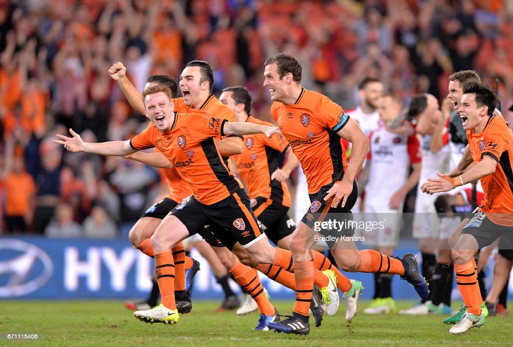 Roar players celebrate victory after a shoot out in extra time during the A-League Elimination Final match between the Brisbane Roar and the Western Sydney Wanderers at Suncorp Stadium on April 21, 2017 in Brisbane, Australia.