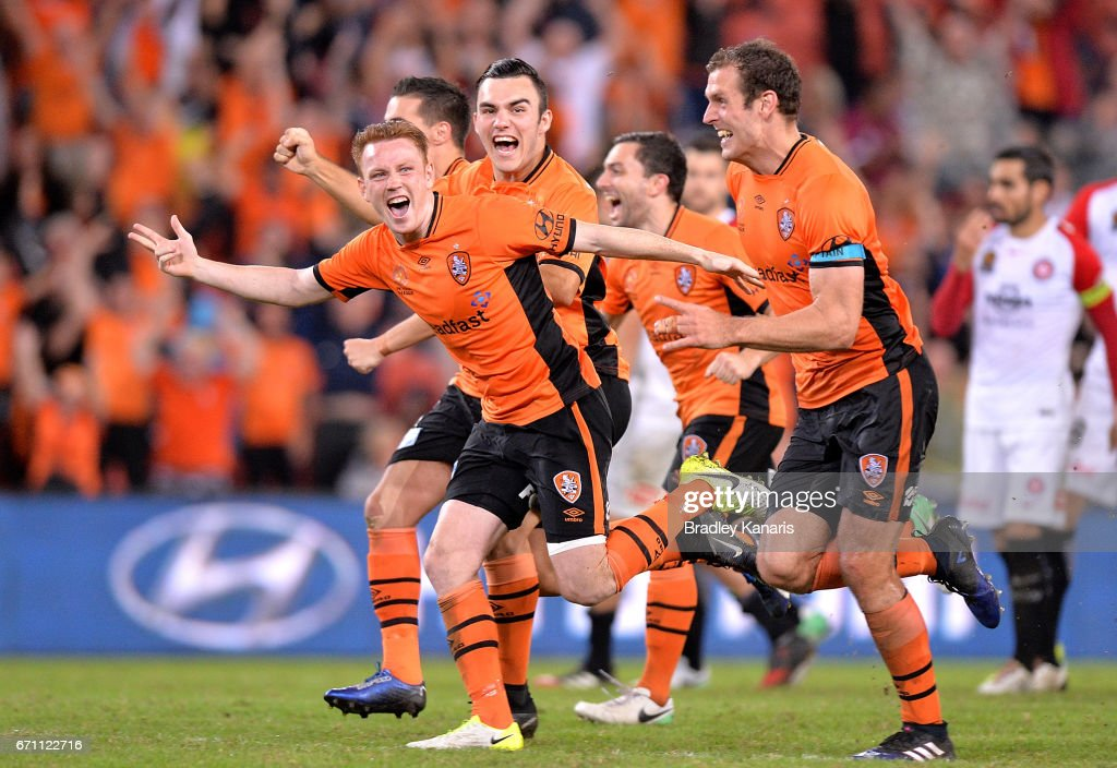 Roar players celebrate victory after an extra time shoot out during the A-League Elimination Final match between the Brisbane Roar and the Western Sydney Wanderers at Suncorp Stadium on April 21, 2017 in Brisbane, Australia.