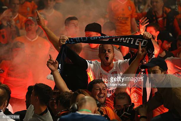 Roar supporters cheer a goal during the ALeague Semi Final match between the Western Sydney Wanderers and the Brisbane Roar at Pirtek Stadium on...