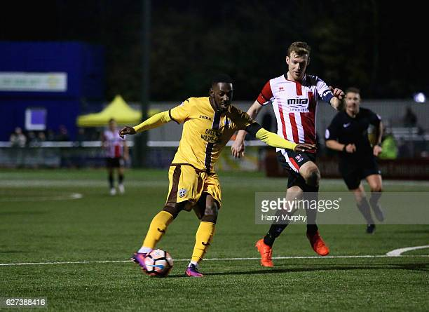 Roarie Deacon of Sutton United scores his teams winning goal during The Emirates FA Cup Second Round between Sutton United and Cheltenham Town on...