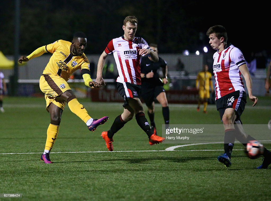 Roarie Deacon of Sutton United scores his teams winning goal during The Emirates FA Cup Second Round between Sutton United and Cheltenham Town on December 3, 2016 in Sutton, Greater London.