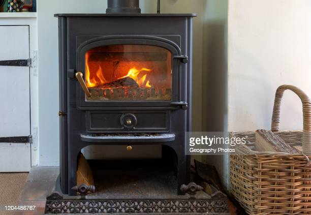 Roaring flames and warm glow of home multifuel stove fire burning wood and coal UK