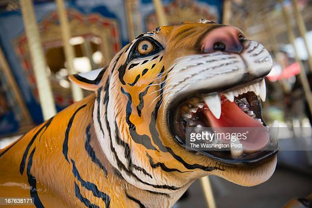 A roaring tiger is one of the animals National Harbor is adding a 36foot Americanathemed carousel on the waterfront It features 30 animals including...