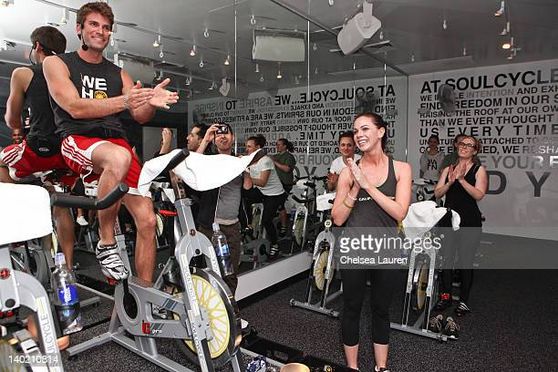 Roarke Walker and Barbara Bush attend SoulCycle charity ride to benefit the Global Health Corps on February 29, 2012 in West Hollywood, California.