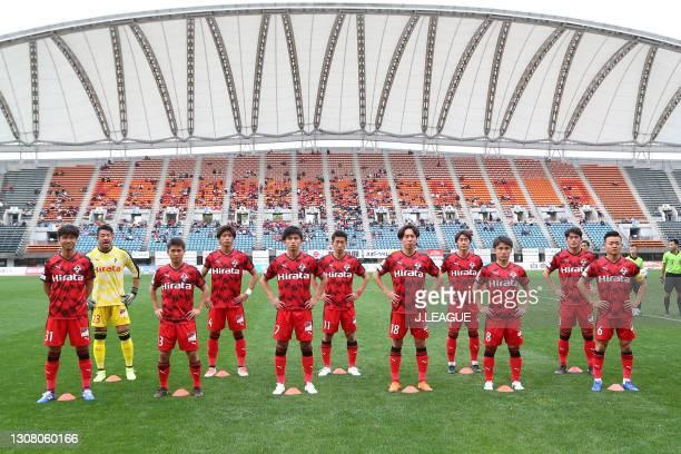 Roasso Kumamoto players line up for the team photos prior to the J.League Meiji Yasuda J3 match between Roasso Kumamoto and Kagoshima United at Egao...