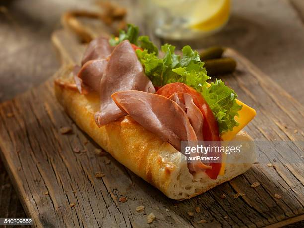 Roast Beef and Cheese Sandwich on a baguette