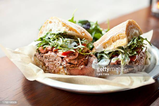 roast beef sandwich - delicatessen stock pictures, royalty-free photos & images