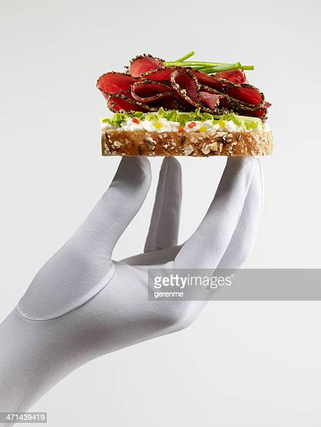 roast beef sandwich - formal glove stock pictures, royalty-free photos & images