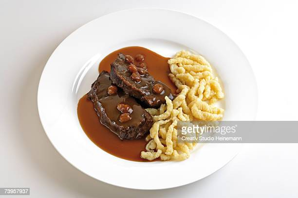 Roast beef with side dish, typical of Rheinland, Germany