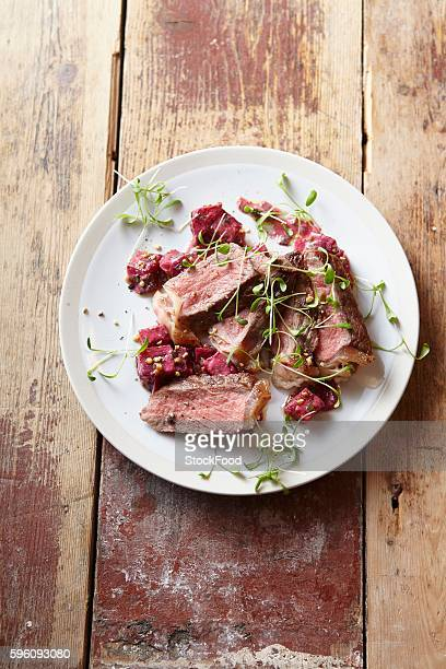 Roast beef with sprouts