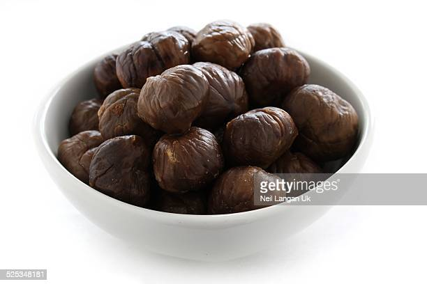 roast chestnuts in white bowl