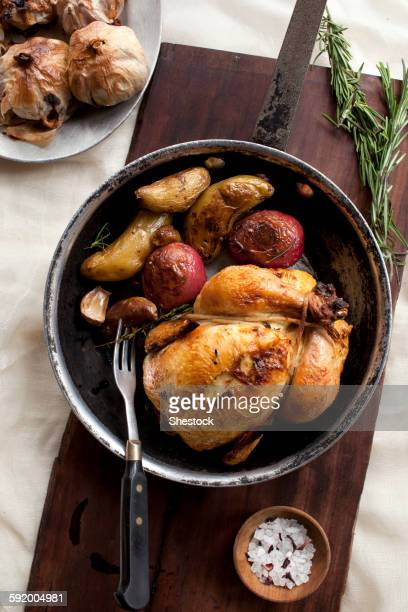Roast chicken and vegetables in pot