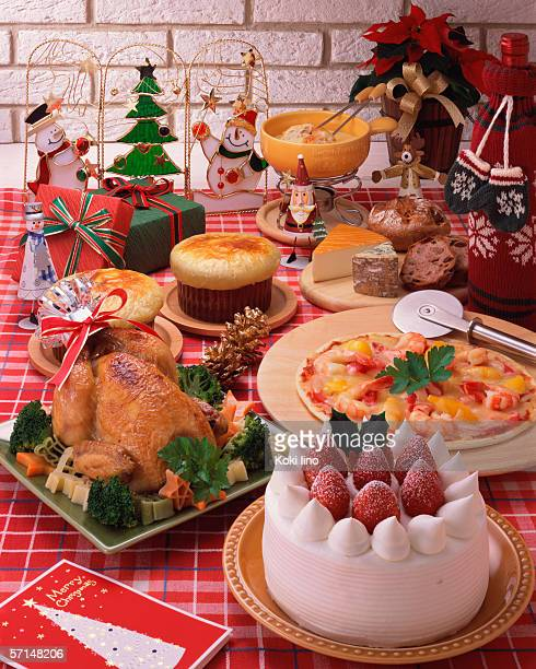 Roast chicken dinner on Christmas eve