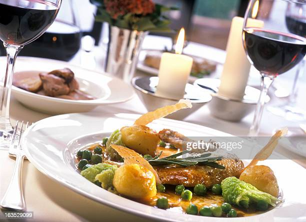 roast chicken leg with Brussels sprouts and green cabbage