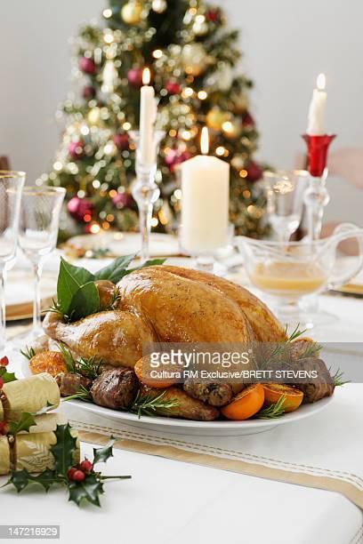 Roast chicken on Christmas dinner table