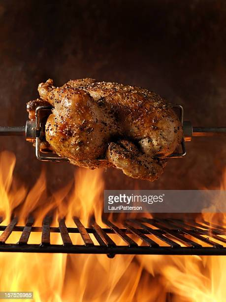 roast chicken on the bbq - roast chicken stock pictures, royalty-free photos & images