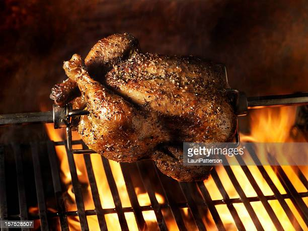 roast chicken on the bbq - chicken meat stock pictures, royalty-free photos & images