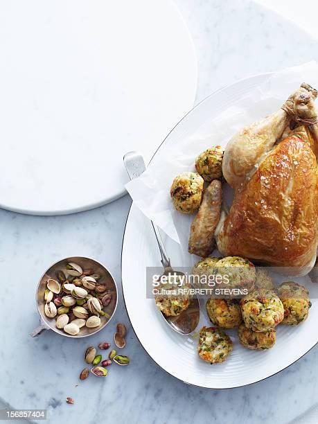 Roast chicken with pistachio stuffing