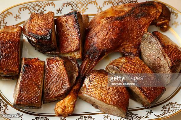 Roast duck on a plate on December 25 2014 in Buecheloh Germany