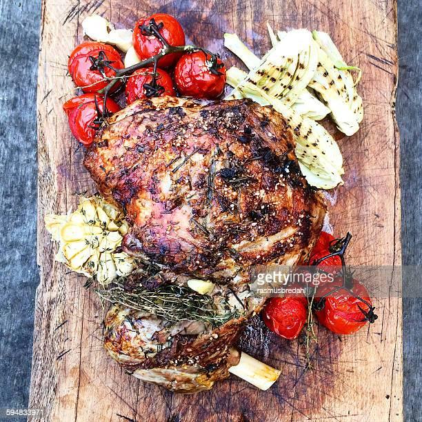 Roast lamb and vegetables