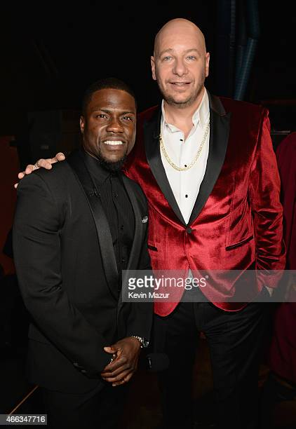 Roast Master Kevin Hart and comedian Jeffrey Ross attend The Comedy Central Roast of Justin Bieber at Sony Pictures Studios on March 14 2015 in Los...