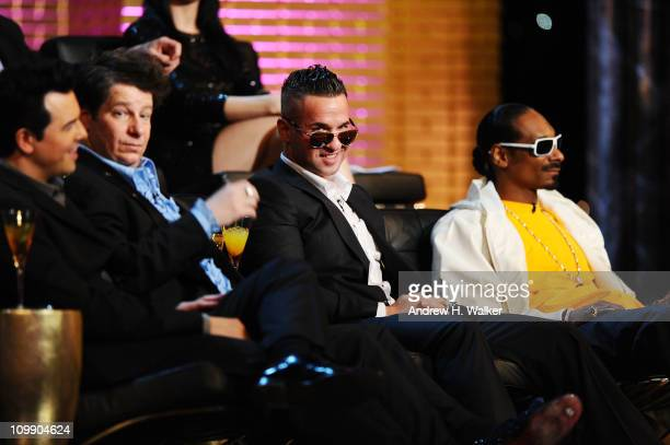 Roast Master Seth MacFarlane comedian Jeffrey Ross Michael The Situation Sorrentino and rapper Snoop Dogg attend the Comedy Central Roast Of Donald...
