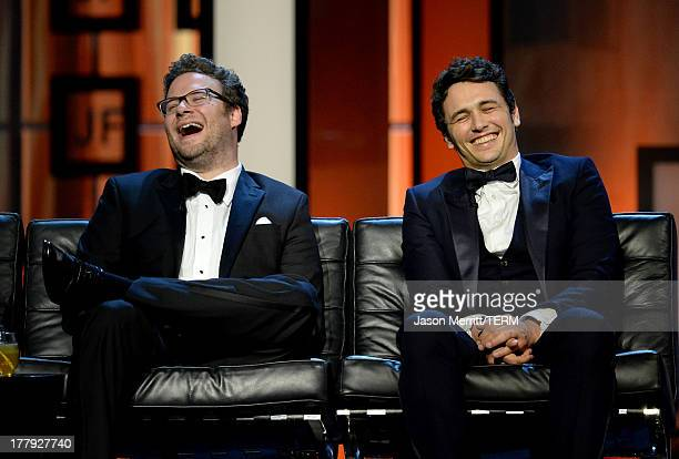 Roast Master Seth Rogen and roastee James Franco onstage during The Comedy Central Roast of James Franco at Culver Studios on August 25 2013 in...