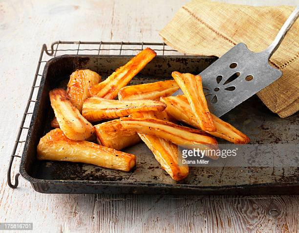 Roast parsnips on baking tray and wire rack