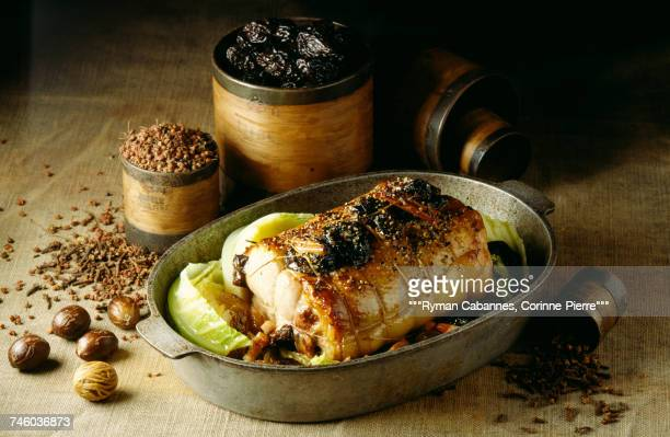 Roast pork with prunes and nutmeg