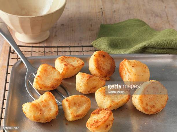 Roast potatoes on baking tray and wire rack