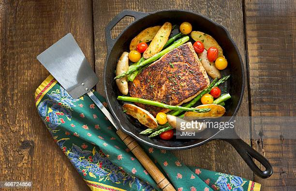 Roast Salmon and Vegetables in a Cast-Iron Pan.