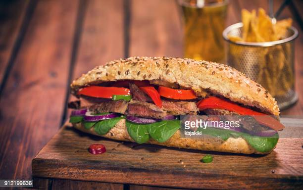 roast tri tip beef sandwich - roasted pepper stock photos and pictures
