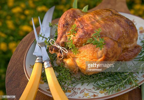 roast turkey, baked thanksgiving dinner, food on outdoor dining table - carving knife stock pictures, royalty-free photos & images