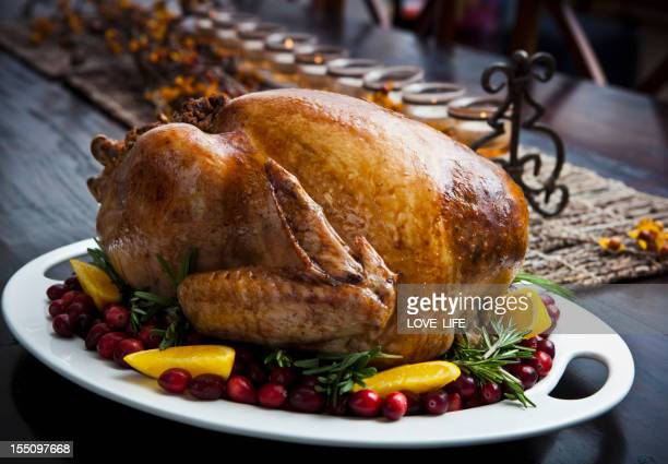 Roast turkey on a serving platter garnished with cranberries