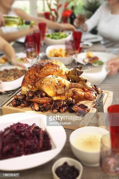 Roast Turkey on table