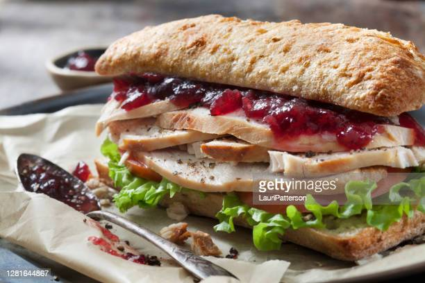 roast turkey sandwich with lettuce, tomato and cranberry sauce on ciabatta bun - cranberry stock pictures, royalty-free photos & images