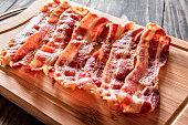 Roasted bacon on cutting board