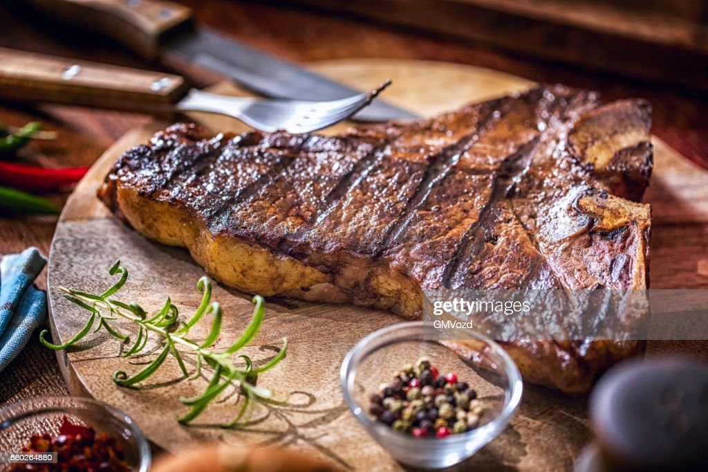 Roasted BBQ T-Bone Steak : Stock Photo