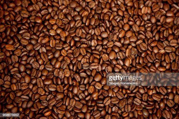 roasted brown coffee beans, can be used as a background and texture - mocha stock photos and pictures