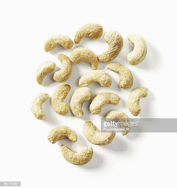 Roasted cashews on white background