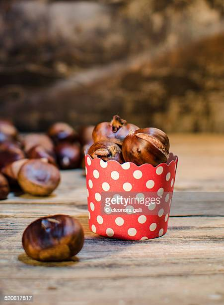 Roasted chestnuts presented in foil