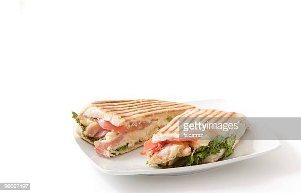Roasted chicken and bacon panini