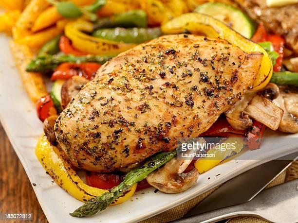Rôti de poulet et de légumes